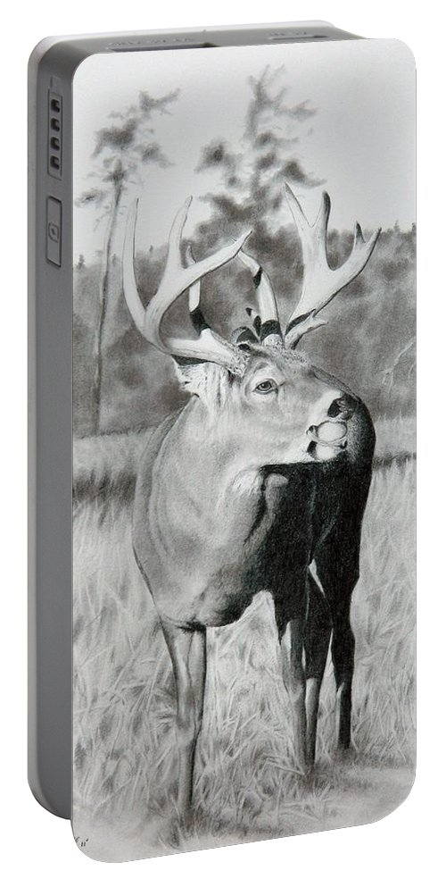 Animal Portable Battery Charger featuring the drawing Apple Snack by Stan White