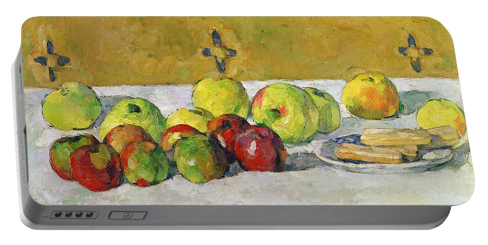 Apples Portable Battery Charger featuring the painting Apples And Biscuits by Paul Cezanne