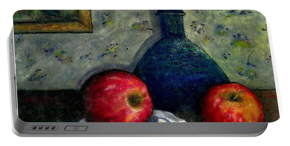 Still Life Portable Battery Charger featuring the painting Apples And Bottles by Gail Kirtz