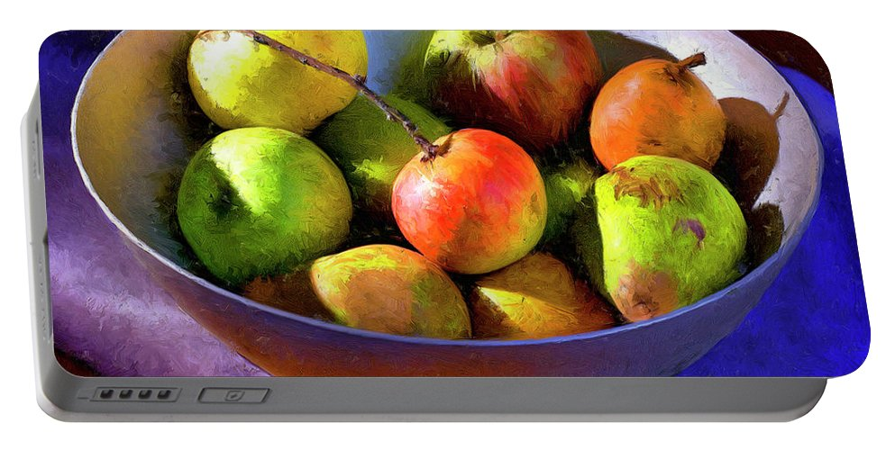 Apples Portable Battery Charger featuring the painting Apples And Pears by Dominic Piperata