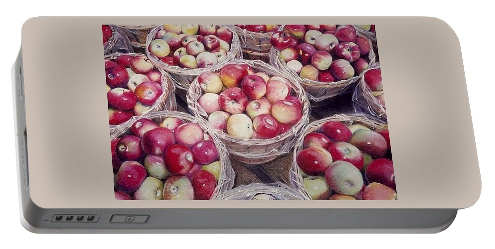 Red Portable Battery Charger featuring the painting Apples by Constance Drescher