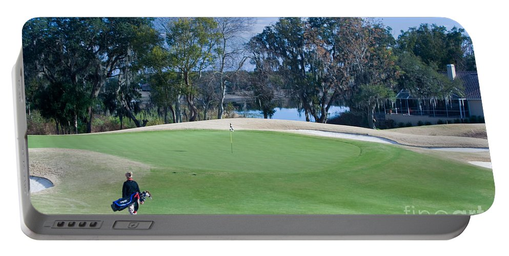 Golf Portable Battery Charger featuring the photograph Approaching The 18th Green by Thomas Marchessault