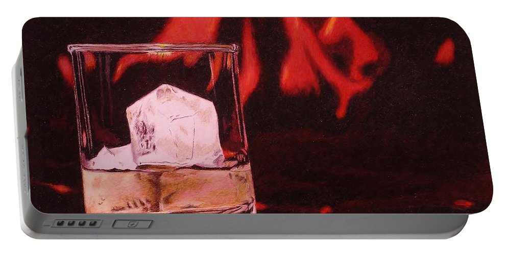 Whiskey Portable Battery Charger featuring the drawing Apres Ski by David Cochran