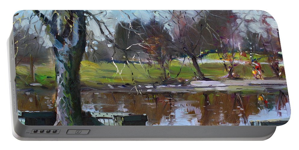 Spring Portable Battery Charger featuring the painting April 09 2011 by Ylli Haruni