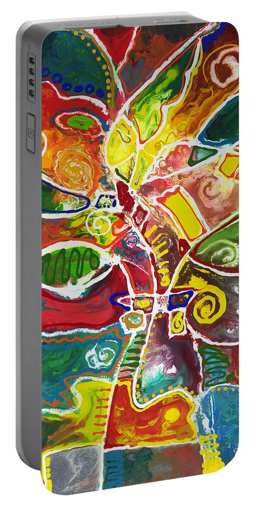Bouquet Portable Battery Charger featuring the painting April Bouquet by Sally Trace