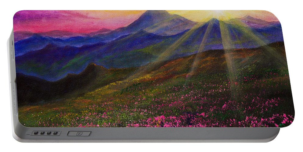 April Portable Battery Charger featuring the painting April Sunset by Chris Steele