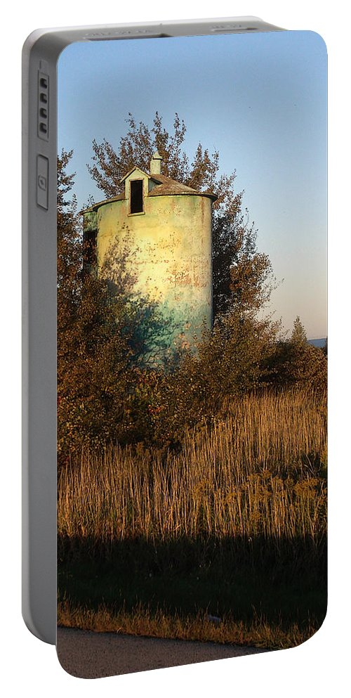 Silo Portable Battery Charger featuring the photograph Aqua Silo by Tim Nyberg