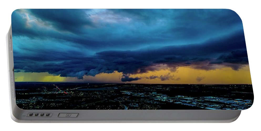 The City Beautiful Portable Battery Charger featuring the photograph Aqua Skies by Christopher Bednarly