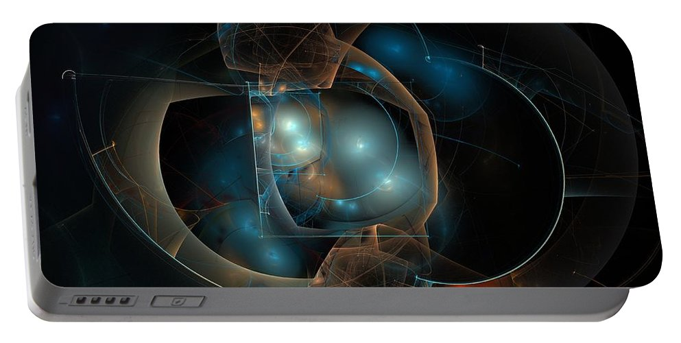 Apophysis Portable Battery Charger featuring the digital art Aqua Wormholes by Kim Sy Ok