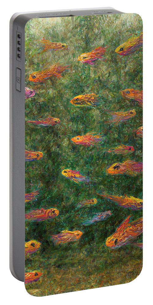 Aquarium Portable Battery Charger featuring the painting Aquarium by James W Johnson