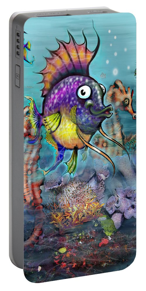 Aquarium Portable Battery Charger featuring the painting Aquarium by Kevin Middleton