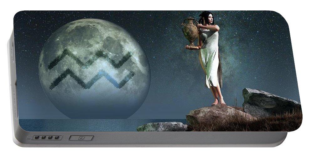 Aquarius Portable Battery Charger featuring the digital art Aquarius Zodiac Symbol by Daniel Eskridge