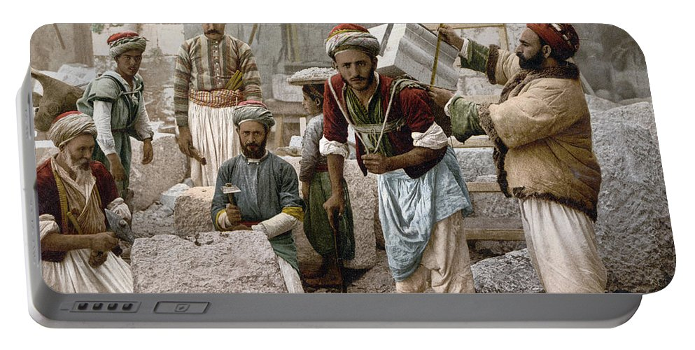 1900 Portable Battery Charger featuring the photograph Arab Stonemasons, C1900 - To License For Professional Use Visit Granger.com by Granger