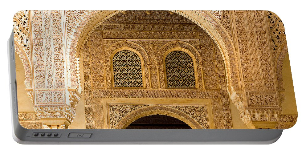 Cuarto Portable Battery Charger featuring the photograph Arabesque Ornamental Designs At The Casa Real In The Nasrid Palaces At The Alhambra by Mal Bray