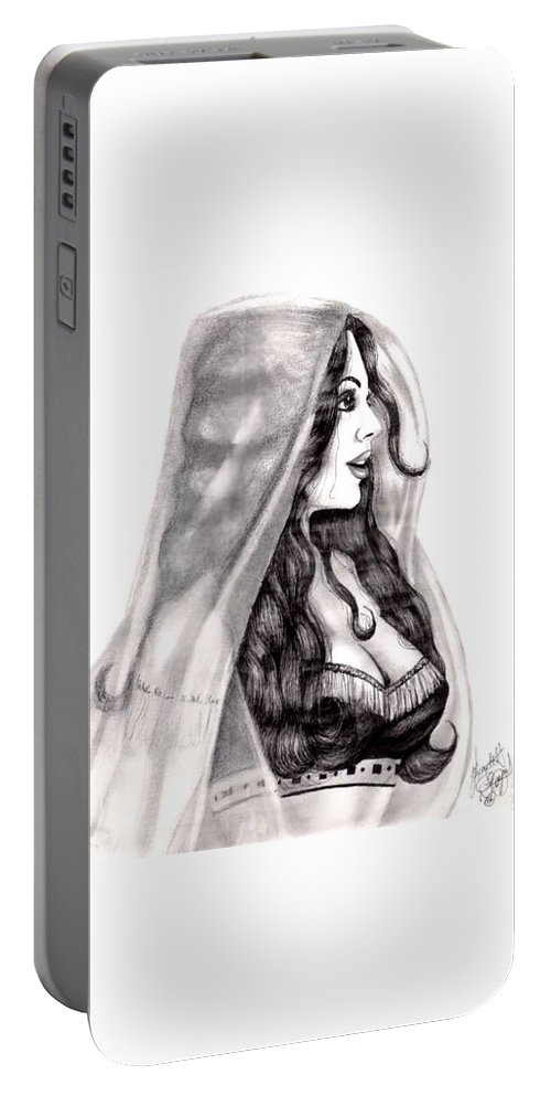 Figure Portable Battery Charger featuring the drawing Arabian Beauty by Scarlett Royal