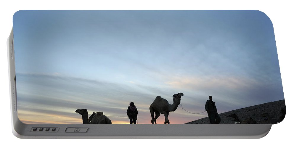 Middle East Portable Battery Charger featuring the photograph Arabian Camel At Sunset by PhotoStock-Israel