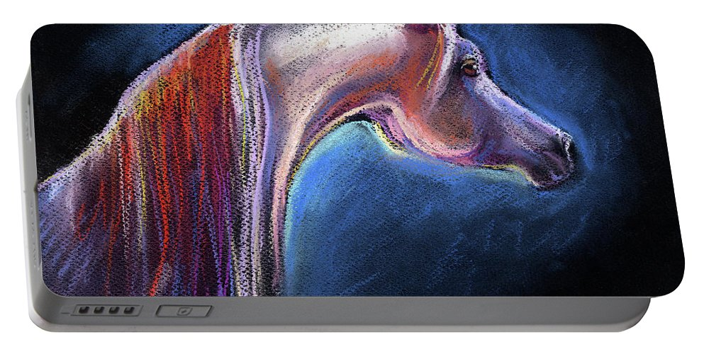 Pastel Arabian Horse Portable Battery Charger featuring the painting Arabian Horse Equine Painting by Svetlana Novikova