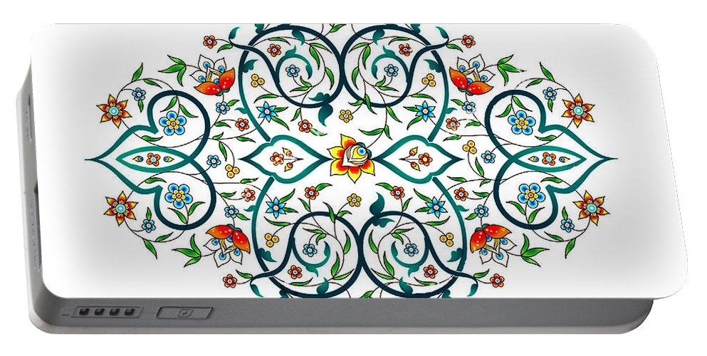 Arab Portable Battery Charger featuring the digital art Arabic Floral Ornament by Long Shot