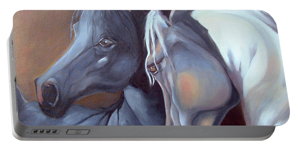 Equestrian Art Portable Battery Charger featuring the painting Arabique by Portraits By NC