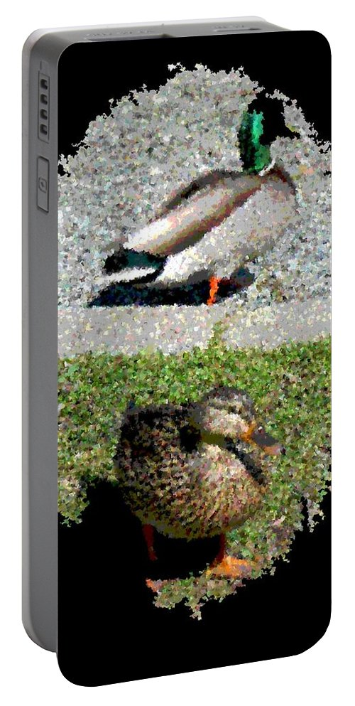 Arboretum Portable Battery Charger featuring the digital art Arboretum Quackers by Tim Allen