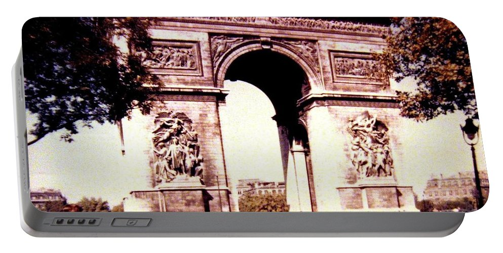 1955 Portable Battery Charger featuring the photograph Arc De Triomphe 1955 by Will Borden