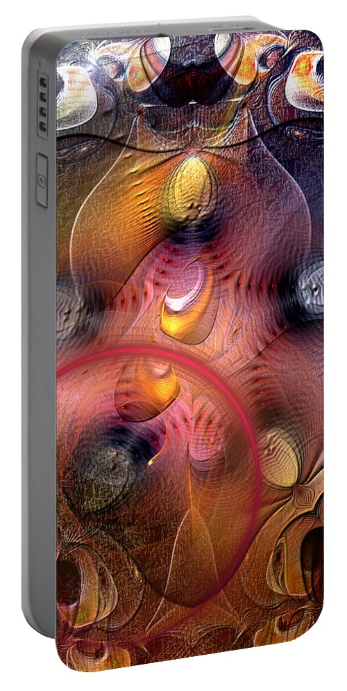 Abstract Portable Battery Charger featuring the digital art Archaean by Casey Kotas