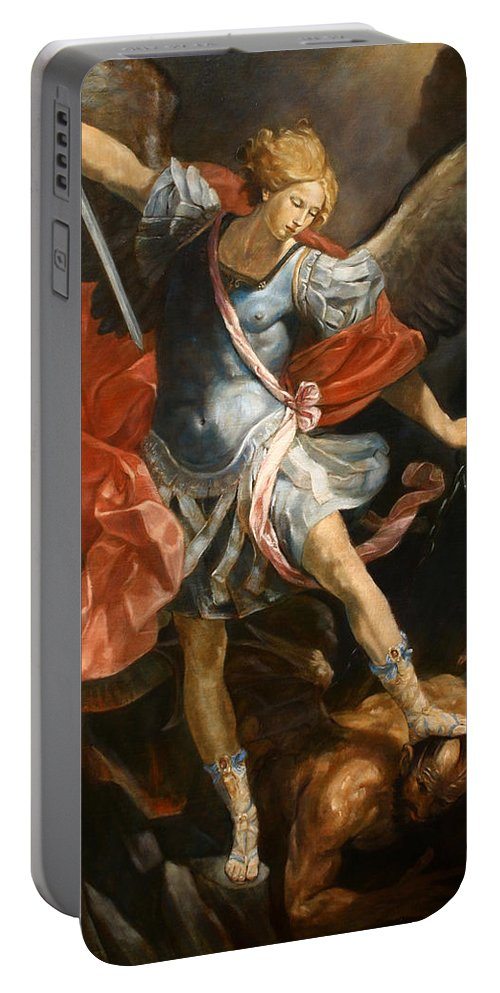 Realism Portable Battery Charger featuring the painting Archangel Michael by Darko Topalski