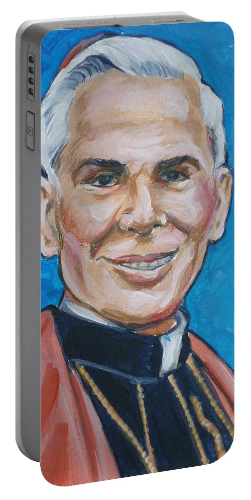 Archbishop Portable Battery Charger featuring the painting Archbishop Fulton J. Sheen by Bryan Bustard