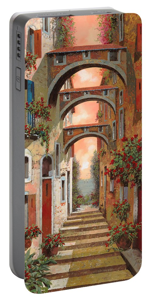 Arches Portable Battery Charger featuring the painting Archetti In Rosso by Guido Borelli