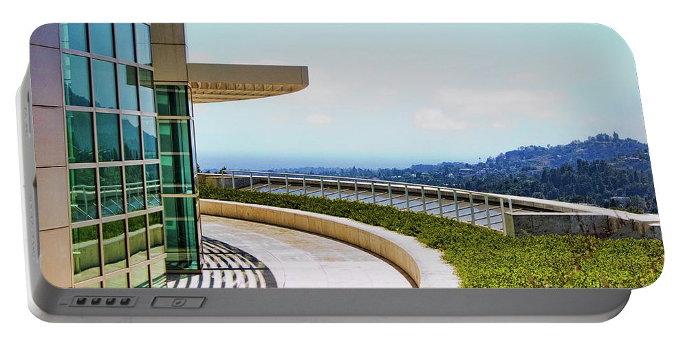 Los Angeles Portable Battery Charger featuring the photograph Architecture View Getty Los Angeles by Chuck Kuhn