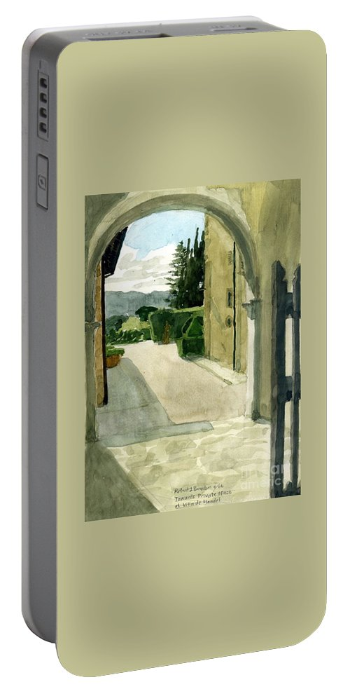 Watercolor Portable Battery Charger featuring the painting Archway Villa Mandri by Robert Bowden