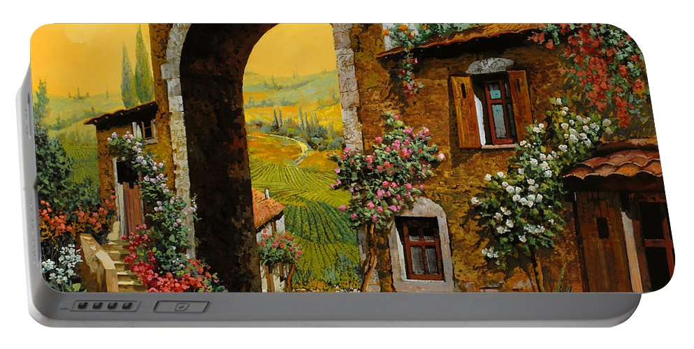 Arch Portable Battery Charger featuring the painting Arco Di Paese by Guido Borelli