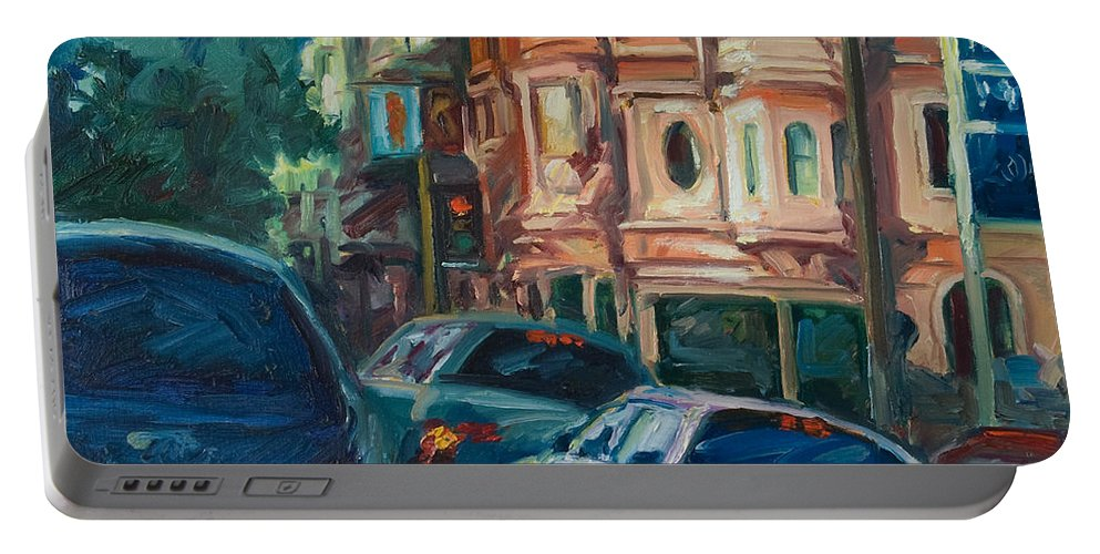 Trees Portable Battery Charger featuring the painting Arco by Rick Nederlof