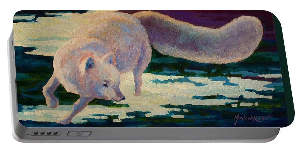Arctic Portable Battery Charger featuring the painting Arctic Fox by Marion Rose