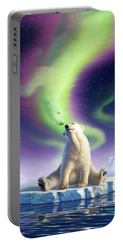 Polar Bear Portable Battery Charger featuring the digital art Arctic Kiss by Jerry LoFaro
