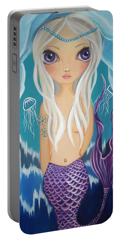 Arctic Portable Battery Charger featuring the painting Arctic Mermaid by Jaz Higgins