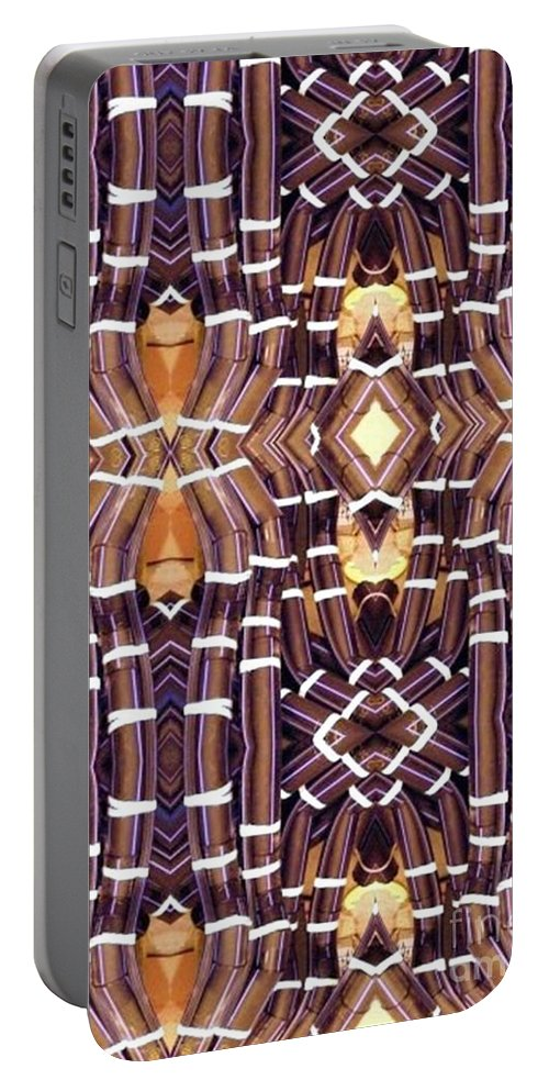 Abstract Portable Battery Charger featuring the digital art Arctic Pipe by Ron Bissett