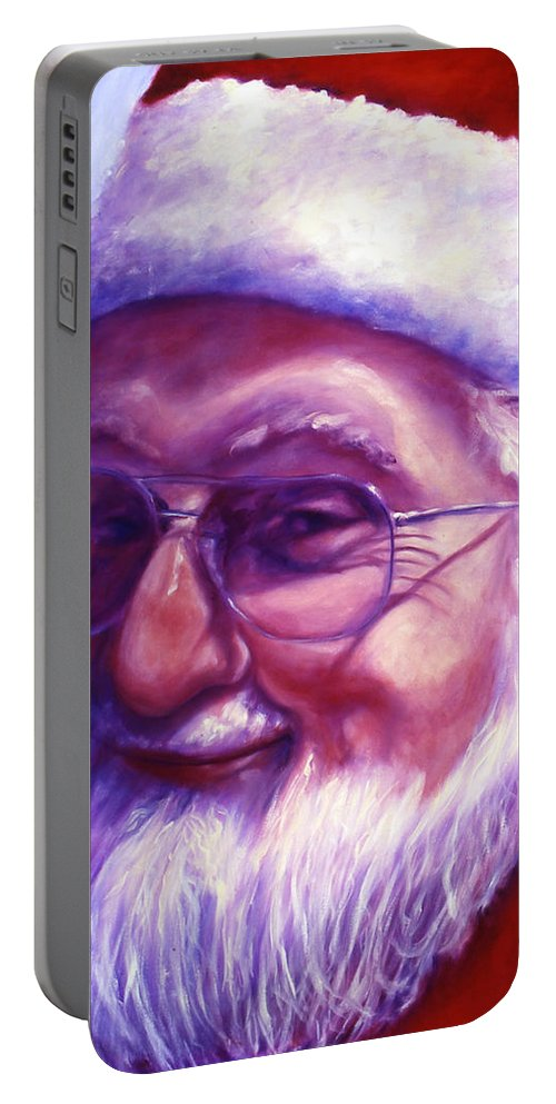 Portrait Portable Battery Charger featuring the painting Are You Sure You Have Been Nice by Shannon Grissom