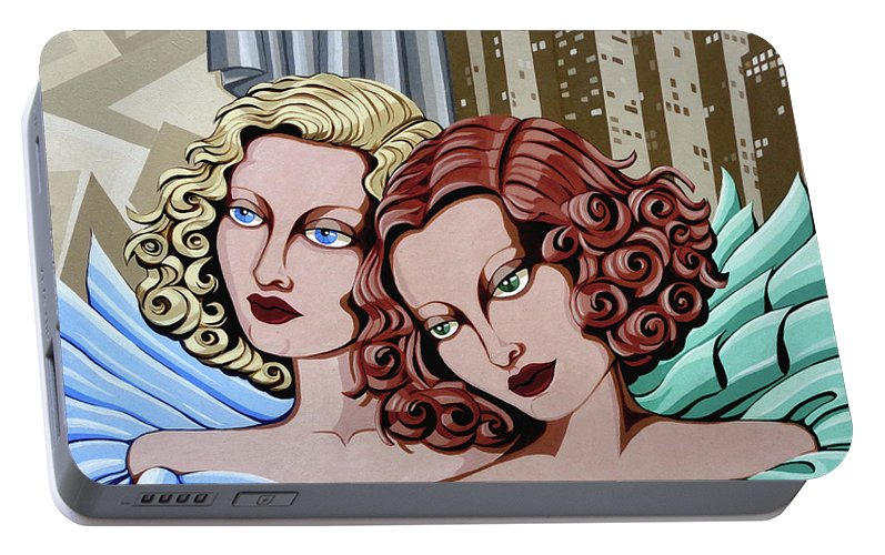 Portrait Portable Battery Charger featuring the painting Arielle And Gabrielle by Tara Hutton