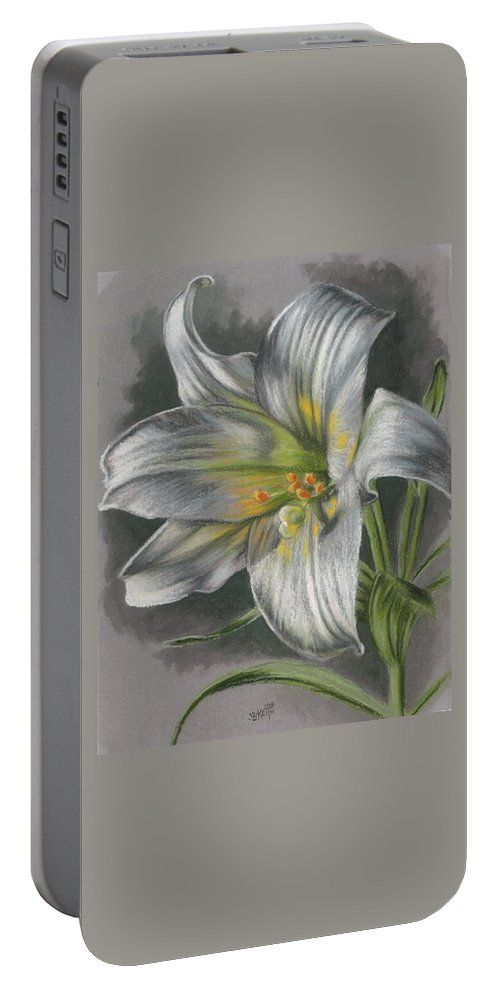 Easter Lily Portable Battery Charger featuring the mixed media Arise by Barbara Keith