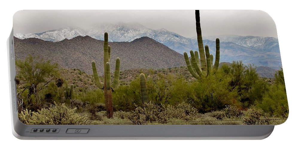 Arizona Desert Portable Battery Charger featuring the photograph Arizona Desert Snow by Marilyn Smith