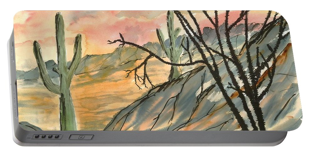 Drawing Portable Battery Charger featuring the painting Arizona Evening Southwestern Landscape Painting Poster Print by Derek Mccrea