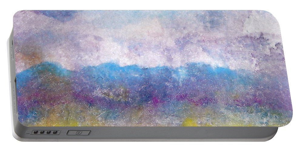 Abstract Portable Battery Charger featuring the painting Arizona Impressions by Jan Bennicoff