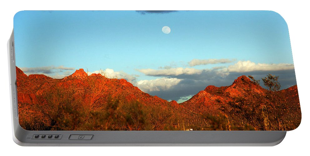 Arizona Moon Portable Battery Charger featuring the photograph Arizona Moon by Susanne Van Hulst