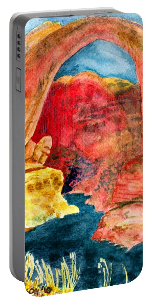 Red Rocks Portable Battery Charger featuring the painting Arizona Rainbow by Eric Samuelson