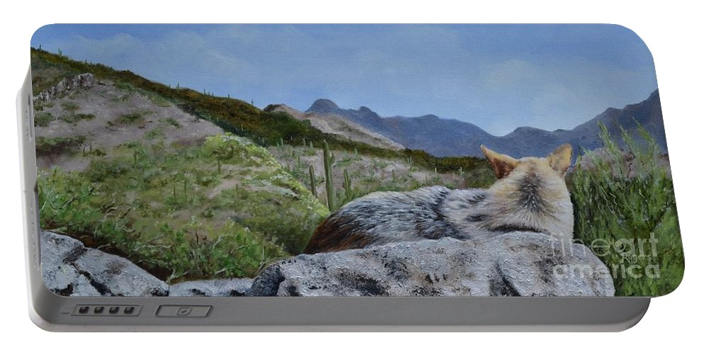 Coyote Portable Battery Charger featuring the painting Arizona Sentinel by Mary Rogers
