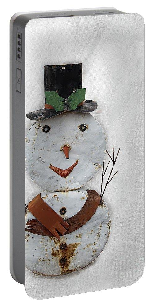 Snowman Portable Battery Charger featuring the digital art Arizona Snowman by Elisabeth Lucas