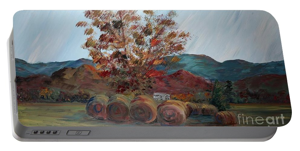 Autumn Portable Battery Charger featuring the painting Arkansas Autumn by Nadine Rippelmeyer