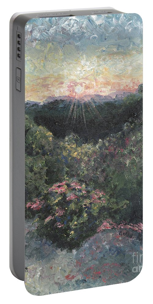 Landscape Portable Battery Charger featuring the painting Arkansas Mountain Sunset by Nadine Rippelmeyer