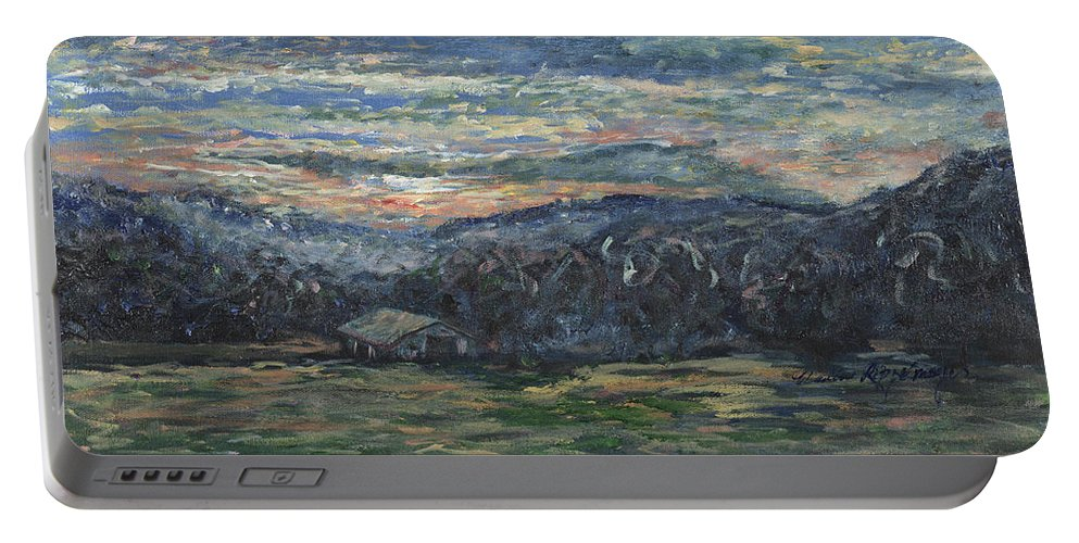 Impressionism Portable Battery Charger featuring the painting Arkansas Sunrise by Nadine Rippelmeyer